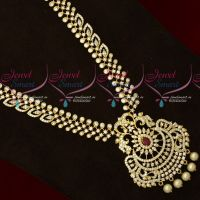 AD Stones Sparkling Jewellery Long Necklace Traditional Designs Online