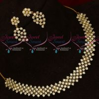 AD White Stones Necklace Party Wear Imitation Jewellery Latest Design
