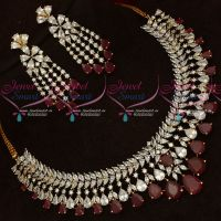 Broad Ruby Red CZ White Stones Latest Fashion Jewellery Online