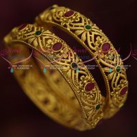 Antique Dull Gold Matte Finish 2 Pcs Set Broad Screw Open Bangles Kada Designs Online