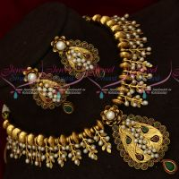 Exclusive Gold Design Handmade Real Pearls Ruby Emerald Jewellery Necklace Earrings Online
