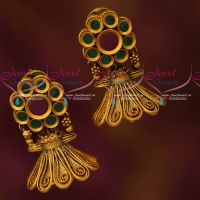Small Bell Shape Jhumka Floral Tops Ruby Emerald Stones