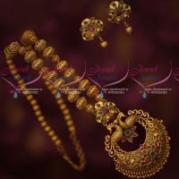 Beads Mala Antique Matte Gold Plated Small Earrings Latest South Indian Designs