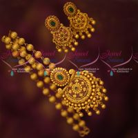 Fancy Beads Mala Pendant Set Latest Matte Reddish Gold Plated Jewellery Online