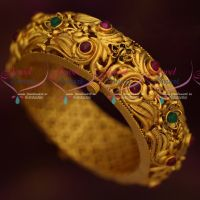 Broad Floral Peacock Antique Reddish Matte Finish Screw Open Kada Online