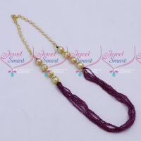 6 Strand Maroon Colour 2 MM Crystal Mala Handmade Jewellery Designs Online