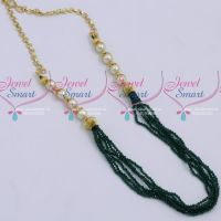 6 Strand Dark Green Colour 2 MM Crystal Mala Handmade Jewellery Designs Online
