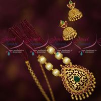 Hand Beaded Crystal Mala Fancy Gold Plated Pendant Jhumka Earrings