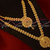 South Indian Gold Covering Jewellery Latest Pattern Low Price Necklace Long Combo Set