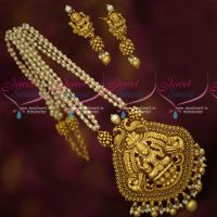 Pearl Beads Real Look Temple Pendant Antique Gold Plated Jewellery Designs Online
