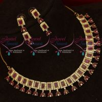 Latest Fashion Jewellery AD Ruby White Sparkling Stones Jewellery Shop Online