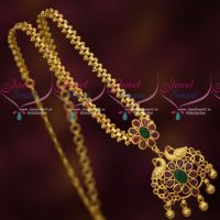 Gold Plated Short Chain Peacock Pendant Red Green Stones Daily Wear Jewellery Online