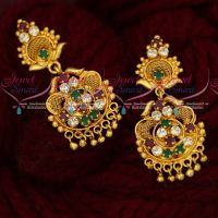 Multi Colour AD South Indian Jewellery Gold Covering Daily Wear Ear Studs Screwback