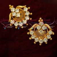 AD White Stones Daily Wear Gold Covering Ear Studs South Indian Jewellery