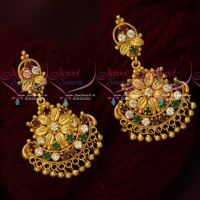 Multi Colour Leaf Design Fancy Gold Covering Earrings South Screw Jewellery Shop Online