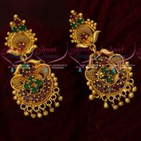 Ruby Emerald AD South Indian Jewellery Gold Covering Daily Wear Ear Studs Screwback