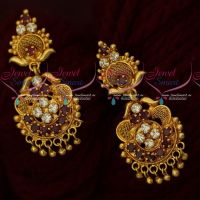 Ruby White AD South Indian Jewellery Gold Covering Daily Wear Ear Studs Screwback