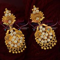 White AD South Indian Jewellery Gold Covering Daily Wear Ear Studs Screwback