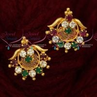 AD Multi Color Daily Wear Gold Covering Ear Studs South Indian Jewellery