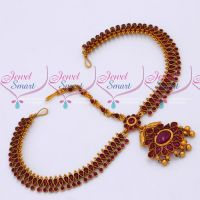 Kemp Stones Reddish Matte Gold Plated Damini Bridal Traditional Jewellery Online