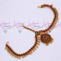 South Indian Bridal Hair Jewellery Kemp Red Stones Damini Matha Patty Matte Finish Online