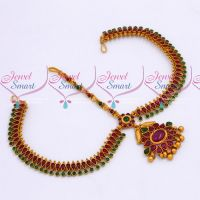 Kemp Red Green Stones Reddish Matte Gold Plated Damini Bridal Traditional Jewellery Online