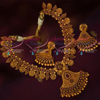 Ruby Stones Peacock Imitation Jewellery Latest Trendy Necklace Set Matte Antique Reddish Plated