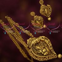 Antique Temple Gold Plated Jewellery Lord Ganapathy Design Pendant Beads Mala