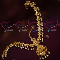 Matte Gold Plated Pearl Drops Damini Matha Patty Latest Matching Bridal Accessory Online