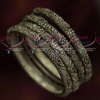 Antique Blackish Oxidised Silver Plated Jewellery 4 Pcs Set Red Green Stones