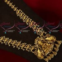 Intricately Designed Peacock Chain Temple Pendant Antique Gold Plated Jewellery Designs Online