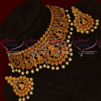 AD White Stones Temple Jewellery Reddish Matte Choker New Designs Imitation