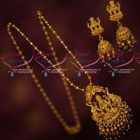 Sapphire Blue Temple Traditional Jewellery Pendant Jhumka Crystal Bead Drops