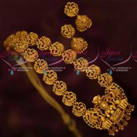 Matte Gold Plated Kemp Temple Nagas Intricately Designed Haram Traditional Jewellery Online