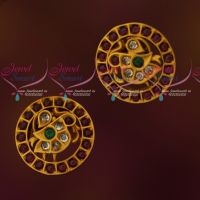 Kemp Traditional Ear Studs Round Design Matte Reddish Gold Plated