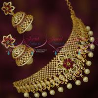 Latest Bridal Choker Double Layer Fancy Jhumka Imitation Jewellery Designs Online