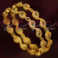 American Diamond Stones Mango Design Gold Covering Daily Wear Imitation Bangles Online