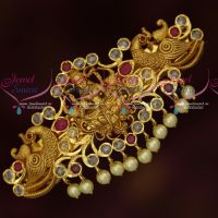 Polki AD Multi Colour Stones Temple Matte Gold Plated Hair Clips Online