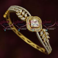 White Stones American Diamond Fashion Jewellery Kada Bracelets Clip Open