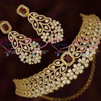 Gold Plated Wedding Jewellery Designs Dazzling AD Stones Gold Plated Choker Necklace