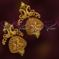 AD Stones Matte Antique Dull Gold Plated Fancy Jhumki Earrings Peacock Design