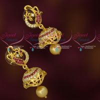 Stylish Peacock Design Small Jhumka Earrings Latest AD Fashion Jewellery