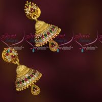 Beautiful Look Small Size AD Stones Jhumkas Latest Imitation Jewellery
