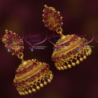 Ruby Stones South Indian Woven Design Imitation Jhumka Daily Wear Jewellery
