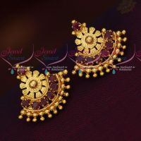 South Indian Traditional Screwback Ruby Stones Daily Wear Earrings Gold Finish Jewellery Online