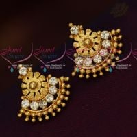 South Indian Traditional Screwback AD Earrings Gold Finish Jewellery Online