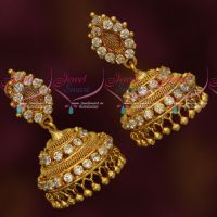 White Stones South Indian Woven Design Imitation Jhumka Daily Wear Jewellery