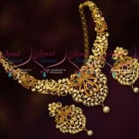 Latest Fashion Jewellery Dual Gheru Matte Gold Peacock AD Stones Set