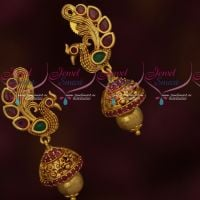 Peacock Design Trendy Fashion Jewellery Antique Jhumki Latest Imitation