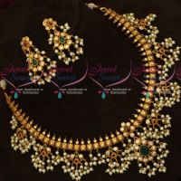 Matte Plated Pearl Jewellery Gutta Pusalu Necklace Traditional Design Imitation Online